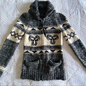 Aritzia TNA Sea to Sky Lambswool Zip-up Sweater